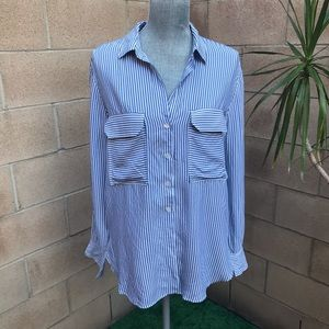 ANTHRO • Maeve Striped Button Down Shirt Bl/Wh Med